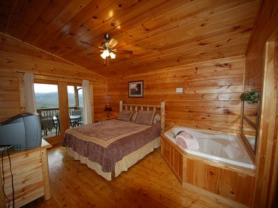 Gatlinburg cabin rental - 1 of 4 King Bedrooms with Attached Bathroom and Jacuzzi