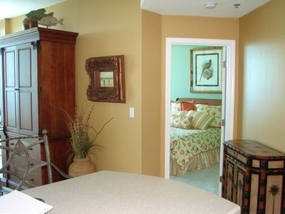 Kitchen view into Master Bedroom