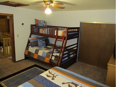 Bedroom #3 - Upstairs bedroom with twin/full bunk and queen-size bed (sleeps 5)