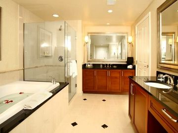 The master bathroom has a whirlpool spa tub, dual sinks and stand alone shower