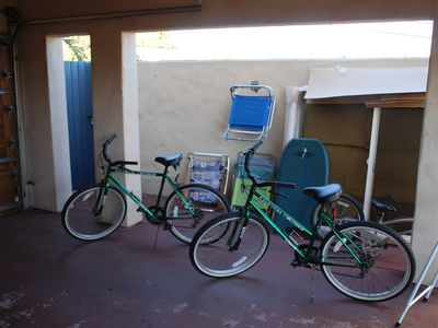 Bikes, beach chairs, boogie boards, etc are provided.