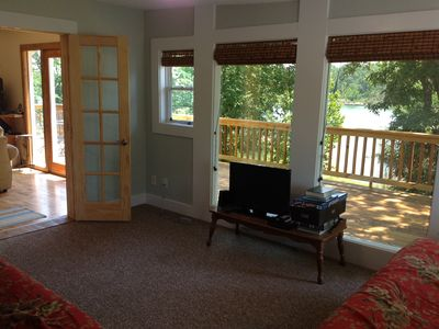 Sunroom french doors to living room, 2nd TV, DVD player, Wii console (no games).