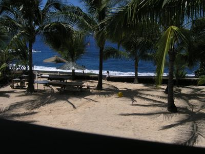 Looking across the yard to the beach