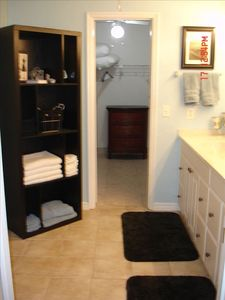 Master bath with huge walk-in closet