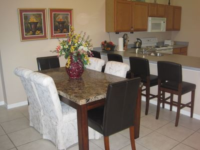Dining table with 6 chairs & 4 bar stools
