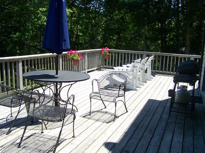 Large outdoor deck! great for entertaining! morning coffee and BBQ dinner
