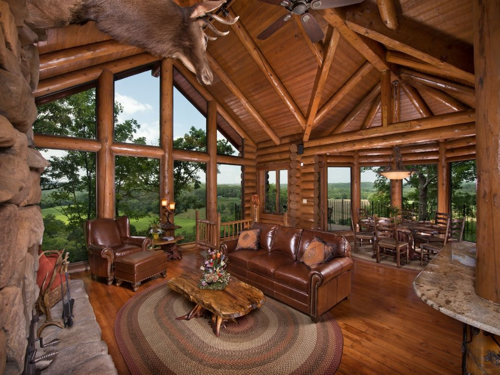 Luxury log cabin with custom cliff side hot vrbo for Custom luxury log homes