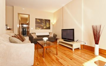 Chicago apartment rental - Plenty of seating in the spacious common area at the front of the apartment.