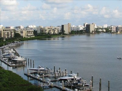 Your view from the 9th floor looking ENE over the private marina, WOW!
