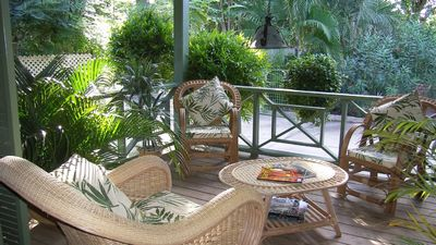 image for Idyllic garden villa, 3 beds, very private, 1 min walk to beach.