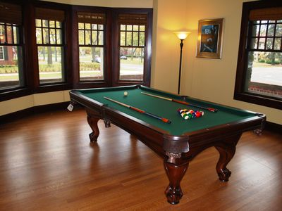 The Billiard Room features an 8 foot slate table -adjacent to the Great Room