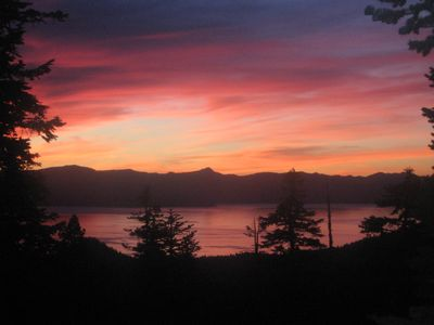Sunset view from our living room and deck. There's no mistaking where you are :)