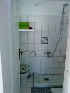 shower and toilet area