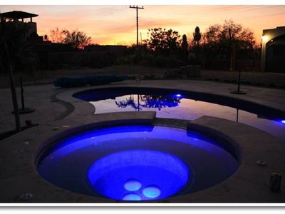 Sunset in the pool area