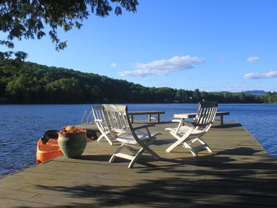 Mont Tremblant chalet rental - Large dock, lake and Mont tremblant in background