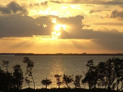 Punta Gorda condo rental - View of the Beautiful Sunset Over the Lake and Harbor, From the Furnished Lanai