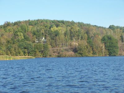 The Lodge from the canoe on Arrowhead Mountain Lake.