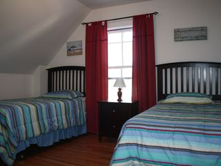 York Beach apartment photo - The two twin beds bedroom with views of the Campground in the back