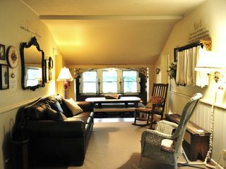 New Braunfels estate photo - Main House - Comfy Leather Sofa in Living Area