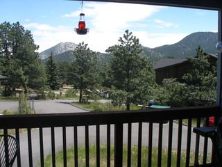 Estes Park condo photo - Aspen Grove private deck with table/chairs, grill and views