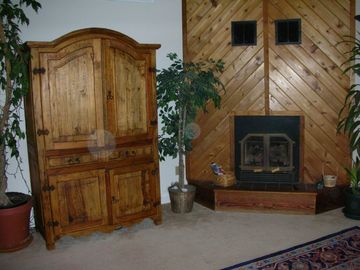 Living Room Entertainment Center & Fireplace