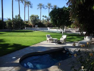 Indian Wells estate photo - Queen's view of yard and the 14' mosaic spa