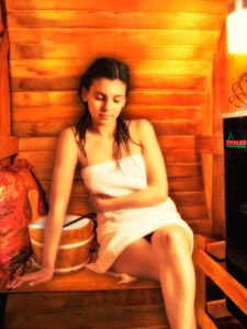 Enjoying the sauna!