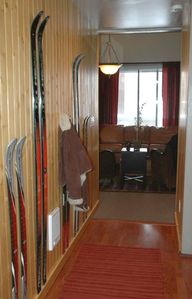 "The entry hall:  Hang your jacket on the unique ""ski coat rack"""