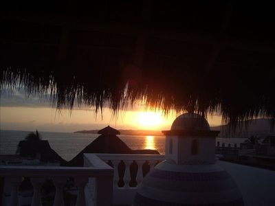 Sunset from the rooftop palapa
