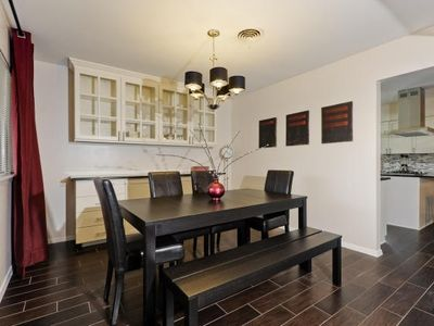 Formal Dining Area, open to the main living room - table opens out and seats 10