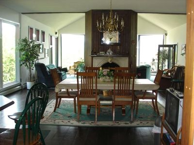 Dining Room overlooking into Vaulted Living Room