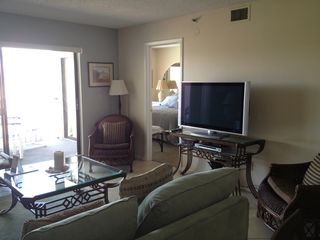 St Pete Beach condo photo - Living Room with Master Bedroom in background\