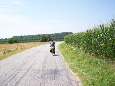 Biking on the quiet country roads.