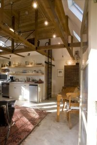 Open space of kitchen, dining, fireplace, one bed, one bath! Loft sleeping up.