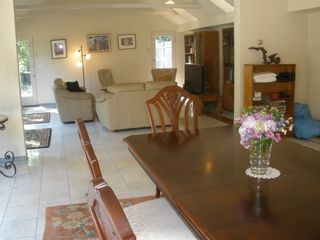 Dennis Village house photo - Great Room with skylights, marble floor, sliding glass doors leading to patio.