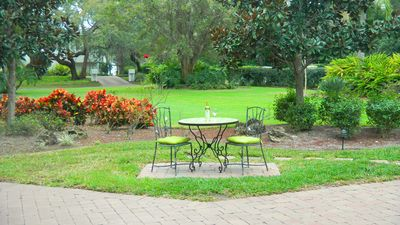Outdoor Sitting Area - overlooking the rose gardens and basketball court.
