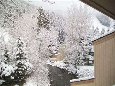 Ketchum condo rental - View from the third story loft. Watch skiers on Mt. Baldy.