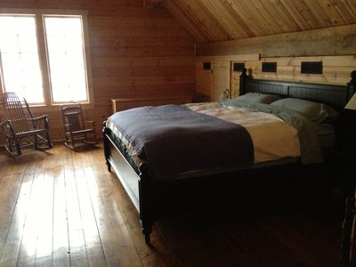 Apple River cabin rental - Upstairs loft Bedroom with king bed