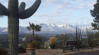 View from firepit patio. Snow dusting the Tucson Mtns. Beautiful rarity.