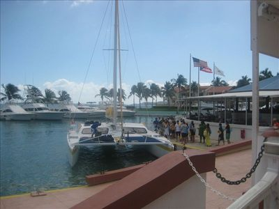 El conquistador marina . Guess waiting for catamaran trips to local islands.