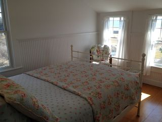 West Yarmouth house photo - The queen bedroom on the upper floor is fresh and charming.