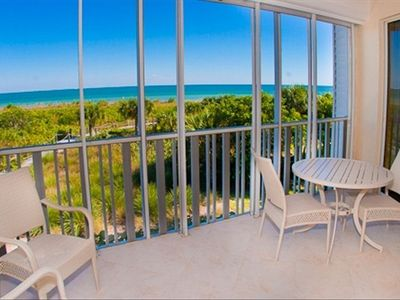 Lanai overlooking Sanibel Beach and the Gulf of Mexico
