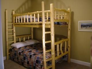 Ludington condo rental - Custom hand made bunk bed / double mattress lower