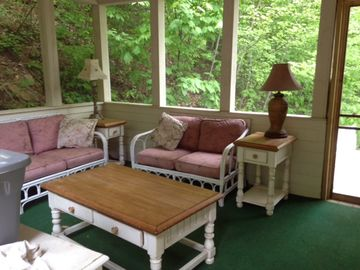 Screen porch is off master, but with access to the back and side decks.