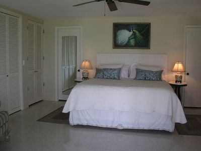 Master suite has a Gulf view and opens to deck & stairway to the private beach.