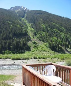 View of Kendall Mountain and the Animas River from rental unit deck