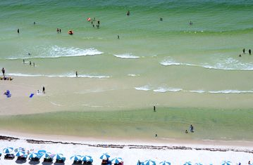 Balcony view; watch every fish or stingray swim by - pelicans at eye level!