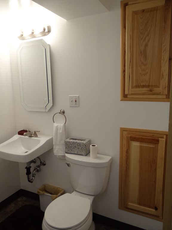 Clean, bright bath with shower and recessed cabinets.