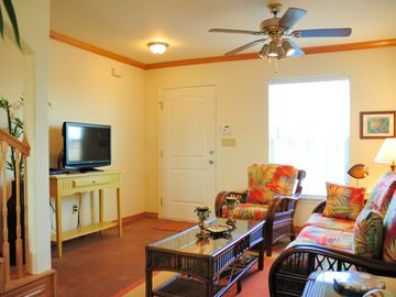 Port Aransas townhome rental - Downstairs living area