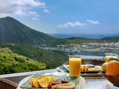 Hawaii Kai townhome rental - Enjoy breakfast on lanai as sun rises over ocean and Kokohead (extinct volcano).
